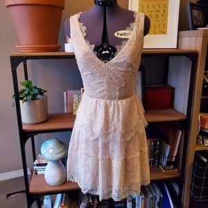 BCBGMaxAzria Willa Lace Dress in Tapioca